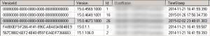 Résultat d'une requête dans la table Versions d'une base Project Server